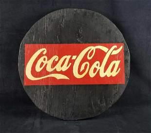 Round Wooden Coca Cola Sign Handmade 2