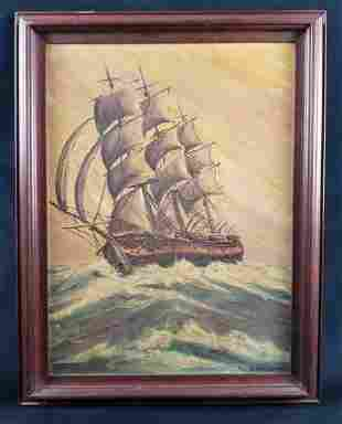 Original Vintage Acrylic Ship Painting by D Vernonese