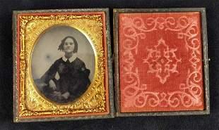 Antique Tintype Portrait W Gutta Percha Case Woman