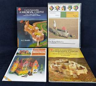 Four Vintage Cut And Assemble Full Color Castles