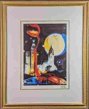 Framed Salvador Dali Framed Manhattan Skyline With COA