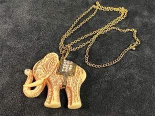 Vintage Craved Resin Elephant Brass Necklace Pendant