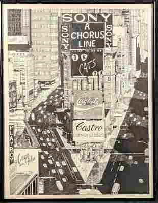 Stella Roosevelt Signed LE Litho NYC Times Square