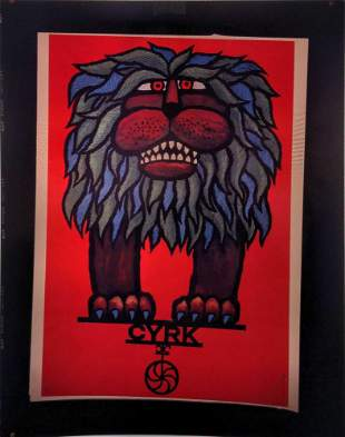 Contemporary Lion Cyrk Polish Circus Poster