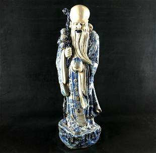 Antique Chinese Blue and White Porcelain Statue of