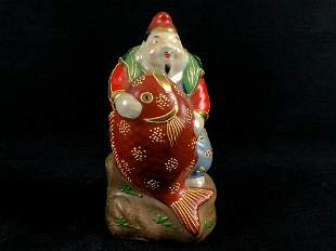 Rare Vintage Kutani 1960's Hand Painted Porcelain Gods