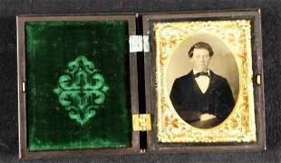 Antique Tintype Portrait W Gutta Percha Case Man