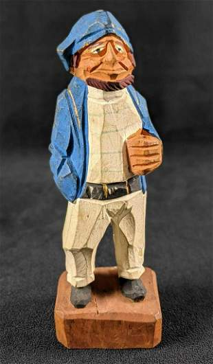 Vintage Hand Carved Wooden Figurine The Whaler