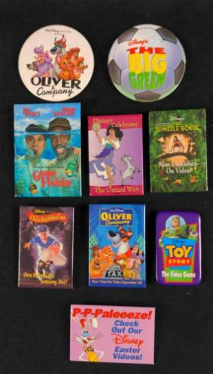 Nine Disney Promotional Buttons And Badges