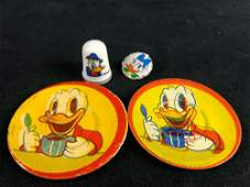 A lot of 4 Vintage Mini Donald Duck Daisy Tin Plates
