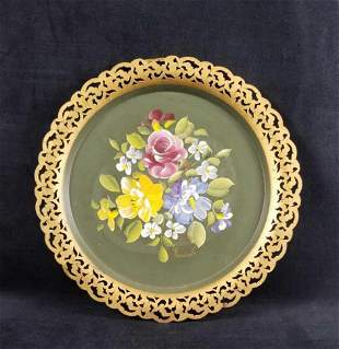 Vtg NASHCO TRAY Floral Hand Painted Round Toleware