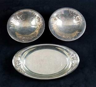 Silver Plated Lot of 3, Gala Serving Tray and Bowls by