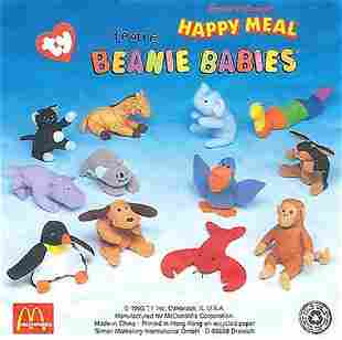 12 McDonalds Happy Meal Teenie Beanie Babies 1998
