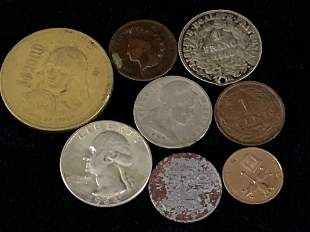 Mixed Lot American & Foreign Copper Brass Silver Coins