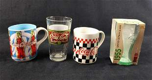 Coca Cola Glasses And Mugs Lot Of Four