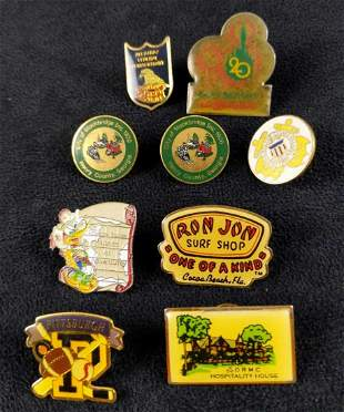 Nine Vintage Places To Go Pins Tie Tacks Disney