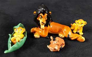 Four Glass Lion King Simba Scar Pumba Figures