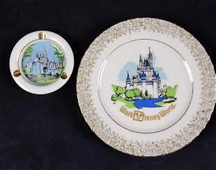 Vintage Disney World Disneyland Plate And Ash Tray