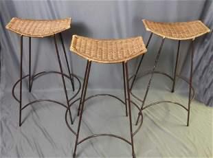 Three Vintage Wicker Wrought Iron Bar Stools