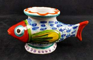 Ceramic Giovanni DeSimone Fish Vase From Italy