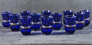 Twelve Vintage Cobalt Blue Drinking Glasses