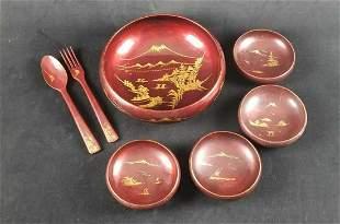 Maroon Laquerware Asian Salad Bowl Set