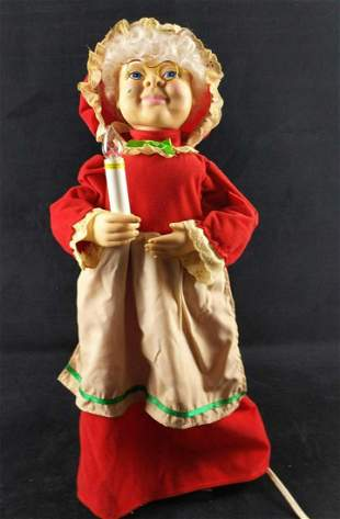 Animated Christmas Mrs Claus Display With Candle