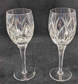 2 Retired Saxony By Waterford Crystal Wine Glasses