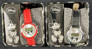 Two Disney Mickey Mouse LCD Accutime Childs Watch