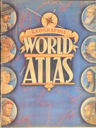 World Atlas Geographia 1930s Vintage Map Atlas