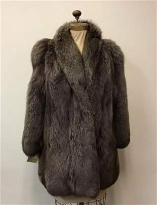 SAGA Gray Fox Coat Jacket Vintage Fashion