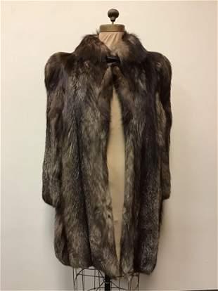 Indigo Fox Fur Button Coat Jacket Vintage Fashion