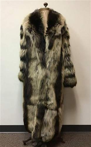 Brown and Cream Dyed Fox Fur Coat Vintage Fashion