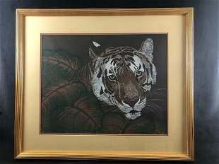 Vintage Numbered Sighed Bengal Tiger Print Framed &