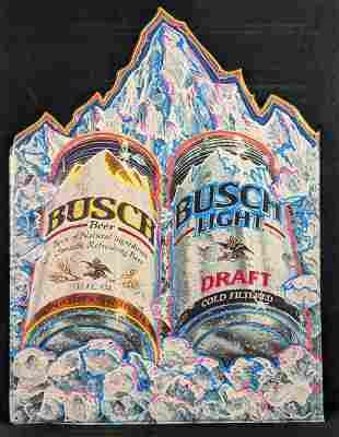 Large Busch And Busch Light Draft Tin Metal Sign