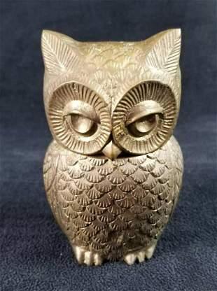Brass Owl Jar