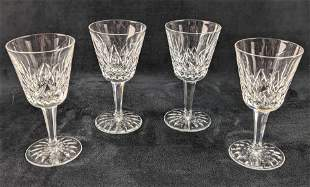 Four Waterford Crystal Lismore Claret Wine Crystal