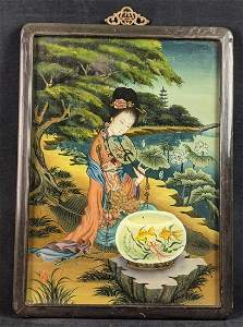 Vintage Chinese Reverse Painting On Glass Lady With