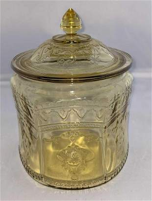 Vintage Federal Glass Patrician Amber Cookie Jar And