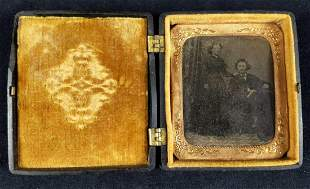 Antique Tintype Portrait W Gutta Percha Case