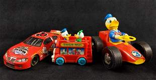 Donald Duck Red Toy Cars Lot of 3