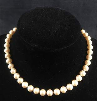 Vintage Faux Pearl Necklace Sterling Clasp