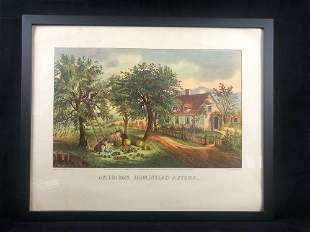 Framed American Homestead Summer Pubo by Currier & Ives