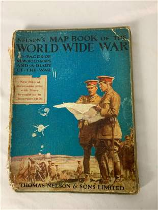 """Hardcover """"Nelson's Map Book of the World Wide War"""""""