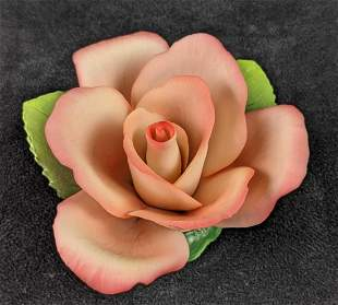 Napoleon Pink Rose Hand Painted Italian Porcelain