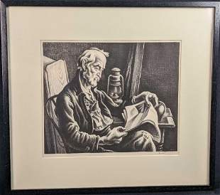 Thomas Hart Benton Old Man Reading Signed Lithograph