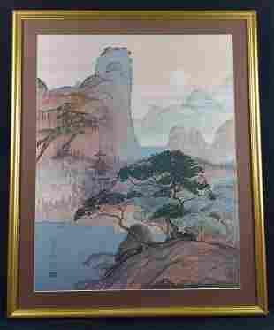 Framed Wysocki Heronim Japanese Pagoda Landscape
