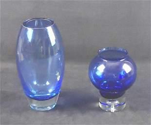 Two Cobalt Blue Glass Vases