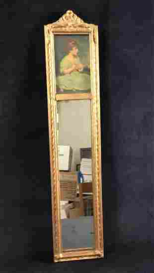 Vintage 1900s Ornate trumeau mirror Pier Glass Wooden