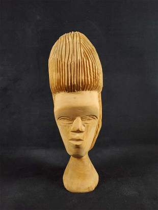 Hand Carved African Wooden Face Figurine